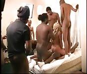 Loira madura sendo comida por uma grupo de caras negros