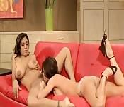 Lesbian sex between two MILFs
