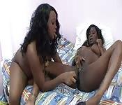 Um par de garotas de ébano fudidas