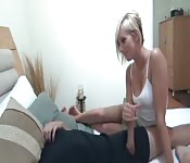 Helping her brother orgasm