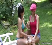 Two girls playing outside