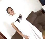 Czarna egipska dziewczyna ruchana przez dużego kutasa