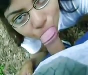 Indian girl with glasses gives pov blowjob