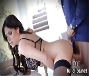 Busty milf in black stockings fucked
