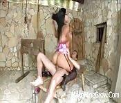 Angelia Heart cavalgando com força