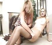 Best friends blonde lesbians strip and fuck hard