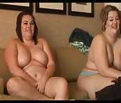 Two chubby MILFs suck and fuck single cock