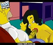 The Simpsons threesome porn video