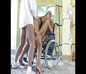 Patient fucks two nurses in hospital wheelchair