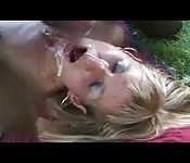 Blonde MILF takes a load