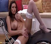 Busty woman breaks them out