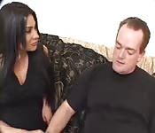Brunette get fucked by mature man