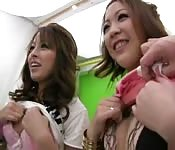 Caught with two horny japanese girls