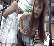 Asian babes in a bus