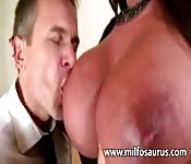 Massaging those tits