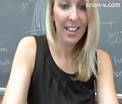 Naughty teacher filming in her classroom