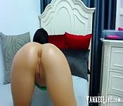 Brunette tight slut fucking her anal hole with dil