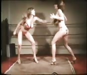 Lesbians fuck in the boxing ring