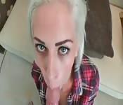 English blonde playing with cum