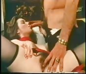 Brunette in red dress takes cock in hairy pussy