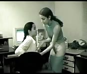 Office girls lesbian action