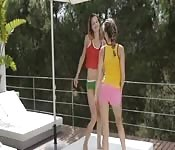 Two skinny chicks dancing and enjoying