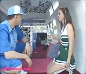 Sexy girl drilled in a van