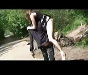 Girl fucks anyone outdoors