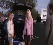 Two sluts fucking in a parking lot