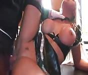 Slutty maid kitchen fucked