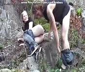 Horny teenagers make love in woods
