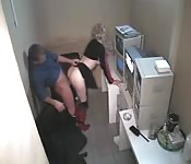 Guard caught by the security cameras