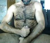 Urso peludo se masturba em frente a câmera