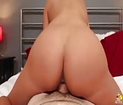 Long white meat in her mouth and pussy