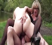 Naughty blonde British teacher gets double penetration