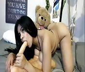 Big tits girl suck dildo