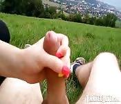 Sexy babe gives lovely handjob