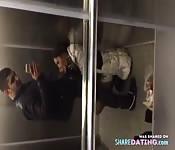 Elevator amateur blowjob