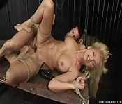Blonde babe with big tits tied up and fucked in the ass