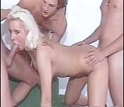 Vintage blonde taken in threesome