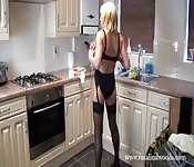 Blonde MILF in stockings and lingerie stripping