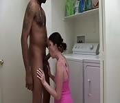 Polvo amateur en una lavandería