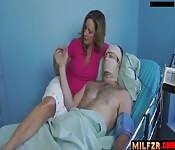 Milf gives son a handjob
