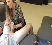 Sexy aunt sucks my hard dick at home