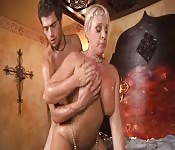 Blonde cougar takes a younger lover