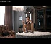 Horny brunette girl fingers herself on call