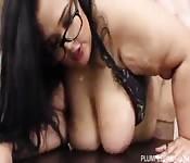 Big tits secretary gets it