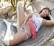 Sweet Malaysian damsel strips and shows off her body