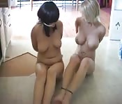 Horny girls are tied up