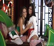 Lesbian Christmas with Celeste and Sunny Leone